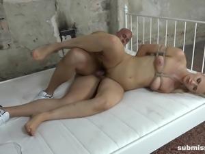 Tied up sex slave Katy Sky ravished by a nasty master