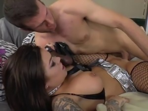 adorable pornstar in fishnets pegs her stud's anal with a strap on dildo...