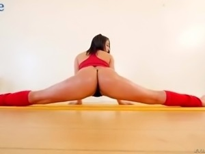 Sporty babe Abella Danger is bent over and quite brutally analfucked
