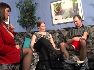 Mature women attack a fellow for a formidable threesome session