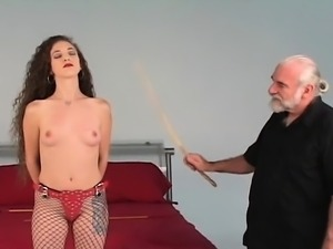 Nude woman bizarre bondage at home with horny man