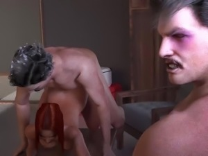 Whore gets fucked right infront of her lover