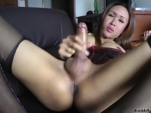 Horny Shemale Apple,strips,shows asshole then masturbates and gets cumshot