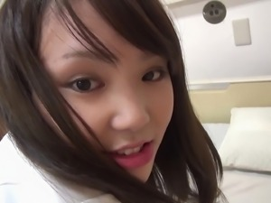 Alluring Japanese chick bends over for a guy's skillful fingers