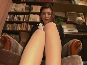This chick is hot even in office dress clothes and she masturbates like mad