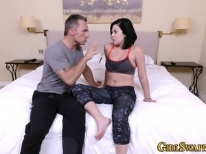 Teen stepdaughter rubbed