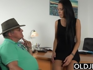 Caught Grandpa Having Sex With Young Brunette