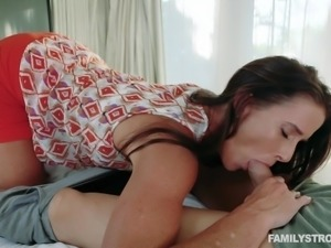 stepmom sucks him off and takes it deep in her cunt