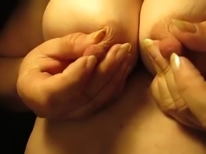 BBW wife kneading big juicy knockers in amateur video