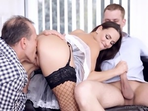 Slut Mea Melone getting fucked by George Uhl and Thomas Lee