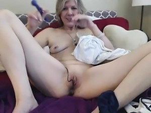 European Mature Toys In Front Of Webcam