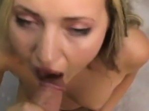Chubby blonde gives a pov blowjob