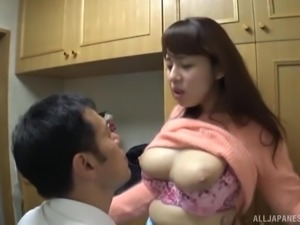 Busty Japanese chick is interested in a stiff boner