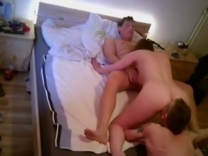 Quite buxom pallid nympho wife of my buddy loves double penetration (MMF)