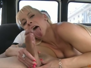 Sly blonde guzzles big shaft in the car and licks it like sweet lolly