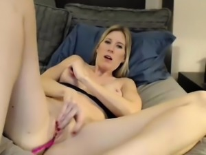 Pussy toying blonde whore solo show