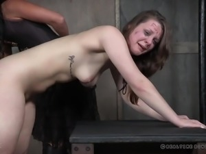 Kinky mistress and her assistant spank ass of juicy whore Nora Riley
