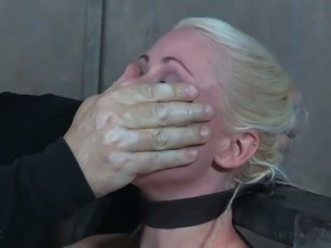 Gorgeous blonde milf broken down emotionally in BDSM session