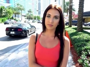 Rose in shorts seduced in streets then smashed hardcore