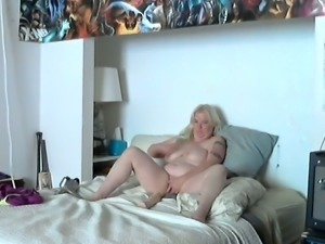 Chubby blond haired big breasted wifey with passion was riding her dildo