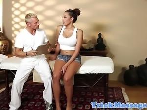 Busty ebony babe fucked by her masseur