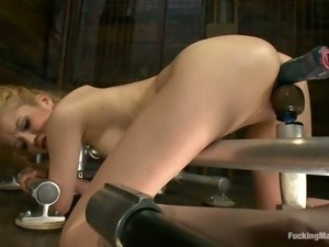 Slim blonde Tiffany Fox gets her pussy ripped apart by a sex machine