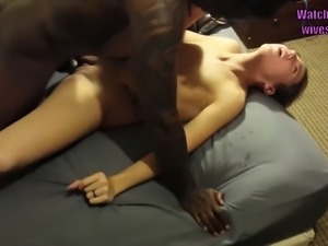 Husband gives his wife to big black cock