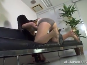 dainty asian solo model in a sexy pantyhose with a hot ass and long hair...