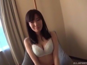 Japanese woman in a white bra seduced by a guy for a shag