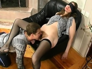 Russian mature MILF gives blowjob