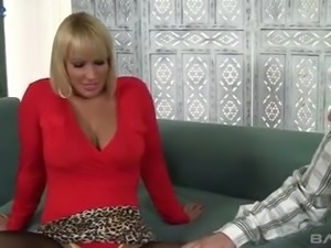 Tanned big breasted Mellanie Monroe keeps on riding and blowing dick