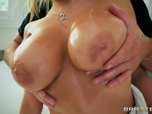 british newcomer katy jayne getting her juicy melons oiled
