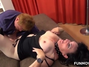 This slut loves having her tits cum on and she loves when men go down on her