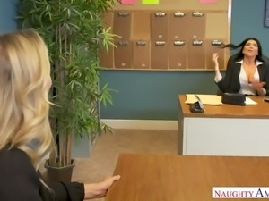 Amazing office slut Julia Ann has unforgettable FFM threesome at work
