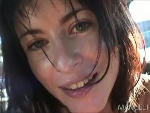 Natural slender big eyed brunette Cecilia Vega gives a nice head in the car