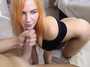 Amateur redhead slut gives a great pov blowjob