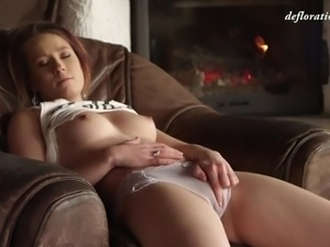 sensual slavic honey anna derevjanko caresses her tight virginal pussy