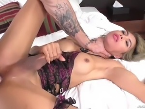 leggy shemale vivi isobelle cums on his face after nice anal