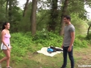 Busty Czech nympho Nicole Love turns dull picnic into outdoor sex party