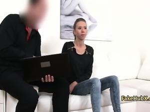 Skinny small tits gal fucks on casting