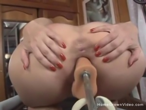 Busty brunette milf uses fuck machine then sucks a fat cock