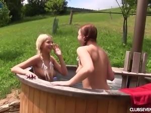 Czech hottie Morgan R enjoys such a steamy village MFF threesome