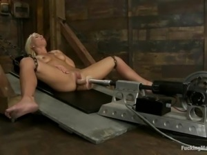 Lexi Swallow gets banged by a fucking machine in a basement
