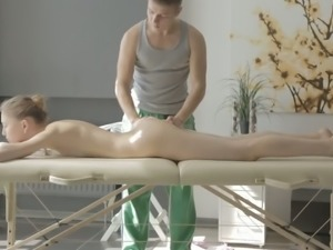 All oiled too pale chick Sofia Russo gets her pussy stimulated a bit