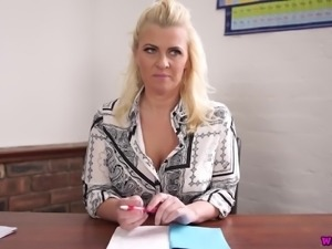 Rather wrinkled secretary Nikki Lee climbs onto the table to rub her clit