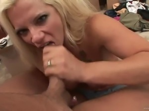 busty milf loves to suck on cock