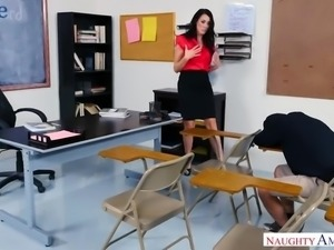 Lusty brunette tutor Reagan Foxx is so into riding strong cock of her naughty...