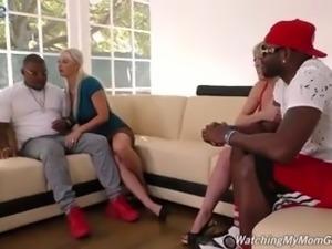 White buddy wanks himself while two busty sluts work on stiff BBCs
