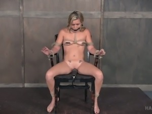 Blond bitch with smeared make up gets her pussy punished