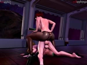 Stacked lesbian lovers have fun with a strap-on toy in 3D
